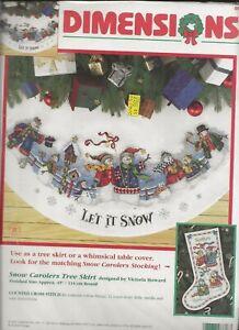 Dimensions#8618 Snow Carolers Snowmen Tree Skirt Counted Cross Stitch Kit