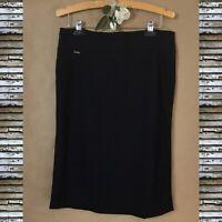 New Women's Classic TAHARI Black Career Short Skirt Straight Knee Length Size L