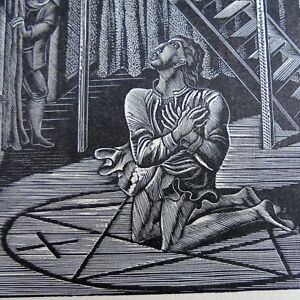 Dr Faustus Conjuring Mephistopheles 1929 by Eric Ravilious Origin Wood Engraving