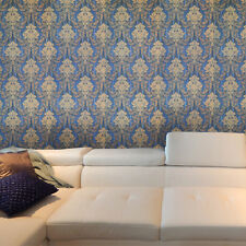 Vintage style paper Wallpaper roll wallcoverings damask blue beige gold metallic