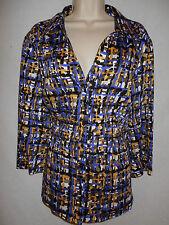 Blouse COMO 2X Women 18-20W Shirt Top Plus Stretch Grn Purple Yellow Black 6p87