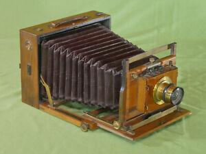 Rare French or German Stereo Folding Half Plate Camera Mahogany Brass c. 1890