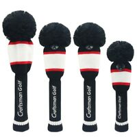 Black White Red Hybrid Rescue Headcover Pom Pom Knit Driver Fairway Wood Cover