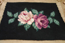 So Beautiful Needlepoint Canvas Vivid Pair Roses Black For Handbag #2