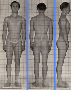 MINIATURE TUFF BADASS~1940s 5x7 NAVY ID PHOTO NEAR NUDE JOCK SAILOR MAN gay #188