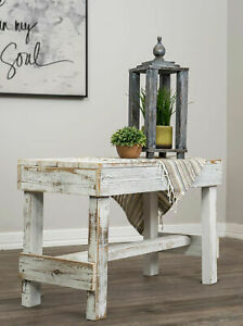 Wooden Barnwood Bench Primitive Rustic Plank Farmhouse Reclaimed Wood White