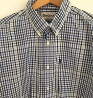 Barbour Terence Blue Check Long Sleeve Cotton Shirt Button Down Tailored Fit XL