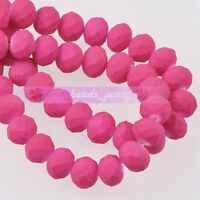 60pcs 6X4mm Rubber Painted Rondelle Faceted Glass Loose Spacer Beads Rose Red