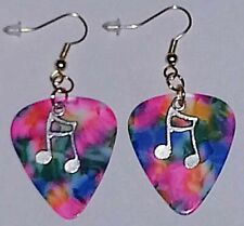 Music Note Gold Plated Dangle Jewelry Rainbow Tie Dye Guitar Pick Earrings