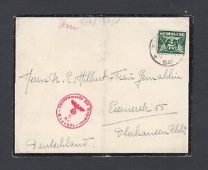 NETHERLANDS 1942 WW2 GERMAN CENSORED MOURNING COVER TO OBERHANSEN GERMANY