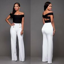 Fashion Womens Casual Slim High Waist Flare Wide Leg Palazzo Long Trousers Pants
