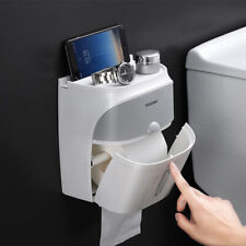 Toilet Paper Double Roll Holder Tissue Bathroom Wall Mounted Storage Hook Shelf