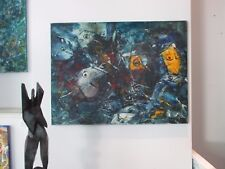 Fische 60x80 Ölbild LW Kunstmüllerei - moderne Malerei - orig. Düsseldorf