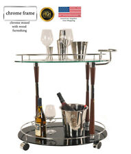 Serving Trolley Cart Tea Wine Drink Coffe Bar Tempered Glass Chrome Wood Design