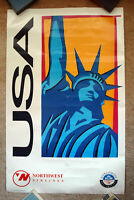 Original 1993 NORTHWEST AIRLINES Travel Poster - USA New York KLM art tourism