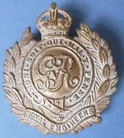 WW1 Royal Engineers Corps Cap Badge KC GV All BRASS Non VOID Genuine- RARE