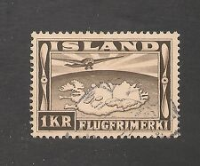 Iceland #C19 VF USED - 1934 1k Map Of Iceland - SCV $40.00