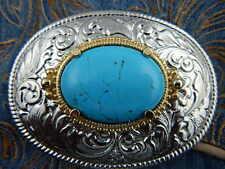 NUOVO realizzato a mano in Metallo Argento Cintura Fibbia Cowboy Western Colore Turchese Gotico