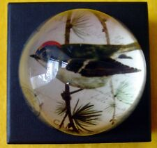 Crystal Domed Wren with red head Paperweight Boxed  - 8 cm high