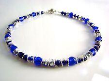 Handgefertigte versilberte Modeschmuck-Halsketten aus Glas