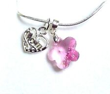 Mother's Day Crystal Flower & Silver Plated MUM Charm on 18 inch Necklace