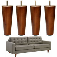 Furniture Feet 6'' Walnut Painted Wooden Couch Sofa Chair Riser Legs Round 4pcs