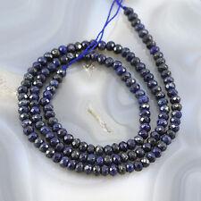"* 4x2mm Natural Blue Lapis Lazuli Faceted Roundlle Beads 15"" (LP66)b"