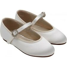 Rainbow Club Abigail White Satin Flat Holy Communion Shoes UK Sizes 6 - 5