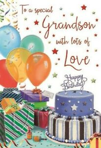 To a Special Grandson with lots of love Birthday Greeting Card - Cake & Balloons