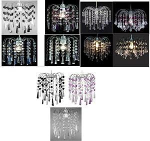 Acrylic Crystal Bead Chandelier Style Modern Ceiling Light Shade Droplet Pendant