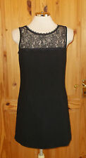 NEXT black sleeveless floral lace WOOL shift LBD smart party evening dress 10 38