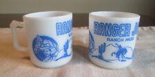 Hazel Atlas  Vintage Lot 2 RANGER JOE Blue Milk Glass mug //////