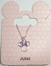 Disney Parks Silvertone Birthstone Necklace - Small Minnie Mouse Bow: June