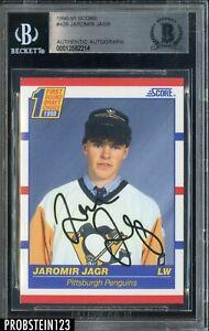 Jaromir Jagr Signed 1990-91 Score Hockey #428 RC Rookie AUTO BGS BAS