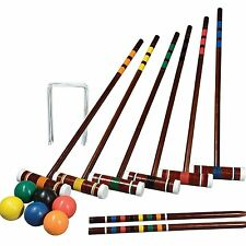 Croquet Set Vintage Wooden Game Six Player Backyard Leisure Sports Intermediate