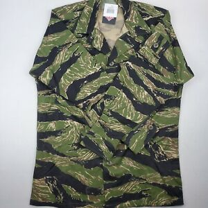 Tru-Spec Tiger Stripe Camo Hot Weather Coat Shirt Long Sleeve Sz Small Regular