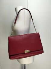 NEW Burberry large Mildenhall stunning red leather shoulder bag golden chain
