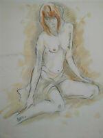 Superbe grand dessin étude de nu esquisse couleurs curiosa jeune femme nue signé
