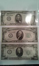 1934 Green Seal currency - $5, $10 & $20 notes, circulated