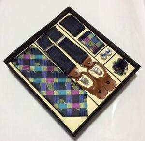Men's Necktie 2Hankies Suspender Cufflinks Lapel Pin Steven Land Wardrobe Set