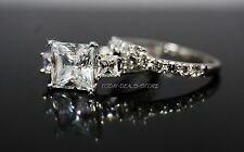 Princess Cut Engagement Ring Set Matching Wedding Band 14K Solid White Gold 3 Ct