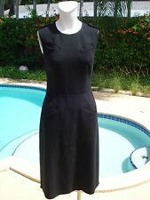 PRADA BLACK WOOL SLEEVELESS 4 POCKET DETAIL COCKTAIL DRESS Sz 44 MADE IN ITALY