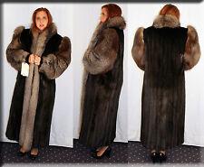 New Ranch Mink Fur Coat Indigo Fox Fur Collar Fox Sleeves Size Medium 6 8 M