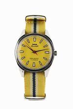 HMT Pilot manual winding watch on a yellow nato strap
