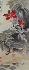 RARE Chinese Hand Painting & Scroll Lotus & Mandarin Ducks By Zhang Daqian 张大千 V