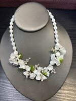 Vintage Unusual White Glass Milk Glass Beaded Necklace Green Glass Accents 16""