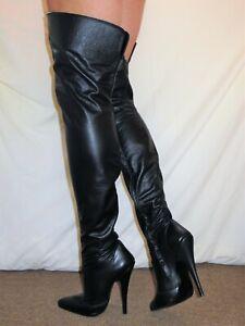 Sexy Thigh Boots Black Matt Leather Stiletto Heel with inside zip UK 6 EU 39