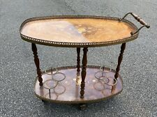 Vintage Bar Cart Italian Marquetry Cocktails Cart Serving Tea Rolling