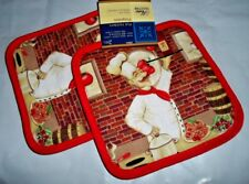 2 Piece Fat Chef Wine Kitchen Pot Holder Pot Holders Linen Set NWT