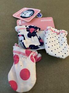 Lot of 3 Gerber Polka Dots Girls Baby Mittens 0-3 Months NEW!